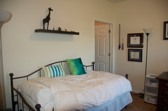 I spray painted my bed frame an espresso color to match the rest of my woodwork.  Above my bed are knick-knacks from Senegal (giraffe), France (Eiffel Tower), a Boyd's Bear sister figurine (Amber) Iraq (brass camel) Jerusalem (oil lamp).  I'm still looking for a teal bedspread...