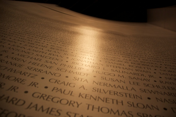 Some of the names of the people who died on 9/11.